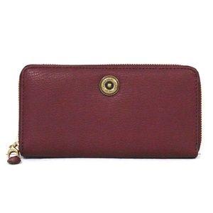New Ralph Lauren Millbrook Zip Wallet in Merlot